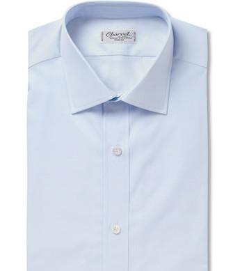 Строгая бледно-голубая рубашка из поплина (Charvet)