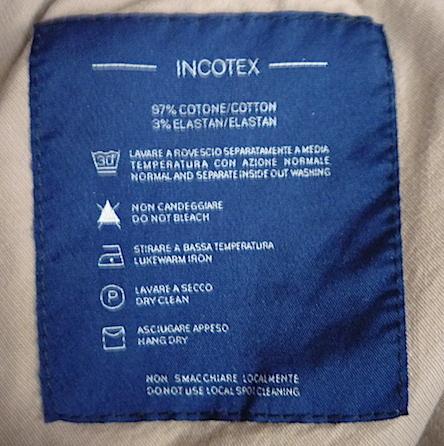 Внутренняя этикетка на брюках Incotex