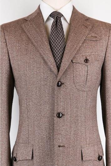 Накладные карманы на пиджаке Cesare Attolini