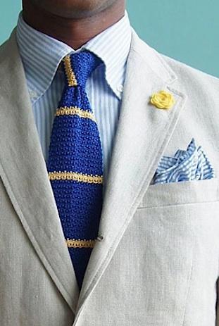 Linen suit silk tie