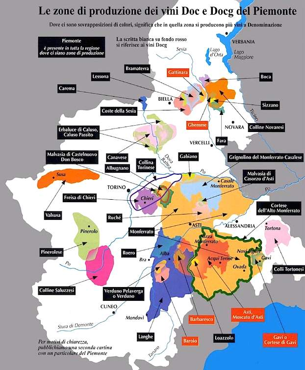 Карта вин Пьемонта