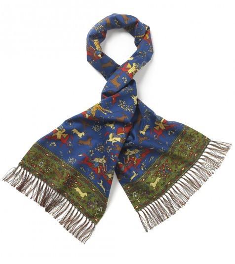 Drakes madder silk scarf