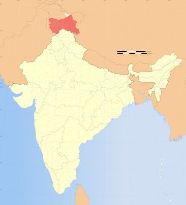 Штат Джамму и Кашмир на карте Индии