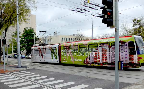 Оклееный рекламой трамвай в Братиславе
