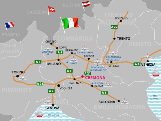 mappa nord italia