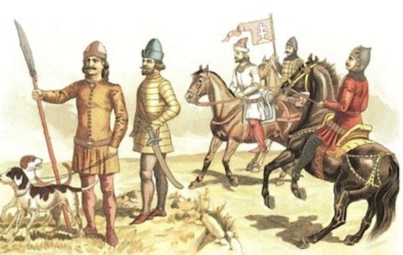 Здесь показано обмундирование венгерских военных XIV-XV веков