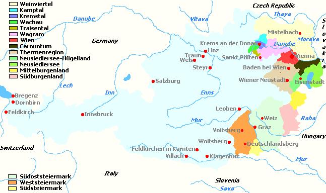Карта австрийских винных регионов