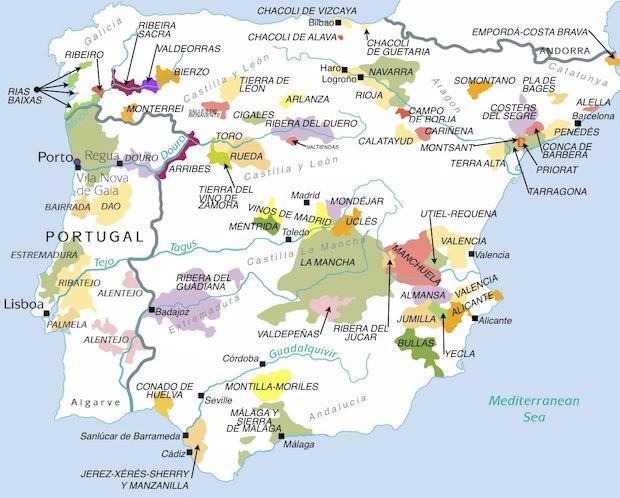 Винная карта Испании