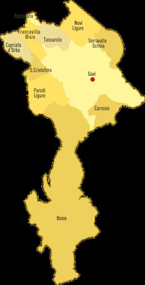 карта производства вин Gavi DOCG