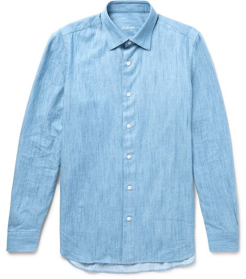 Льняная голубая рубашка