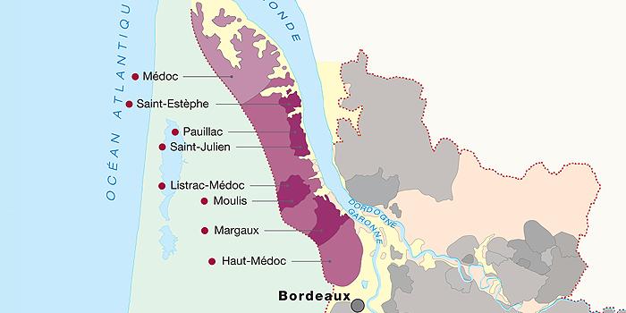 карта апелласьонов Медок (Бордо)