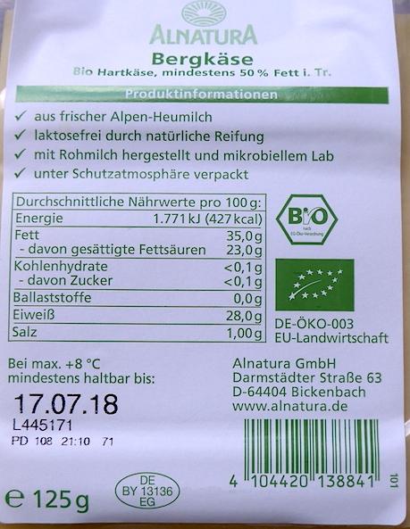 информация о сыре Bergkase