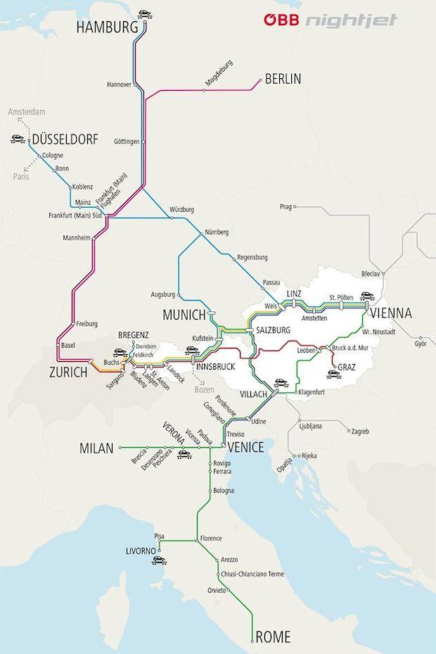 Ночные поезда Центральной Европы