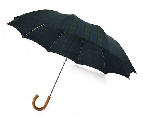 зонт в клетку с деревянной ручкой